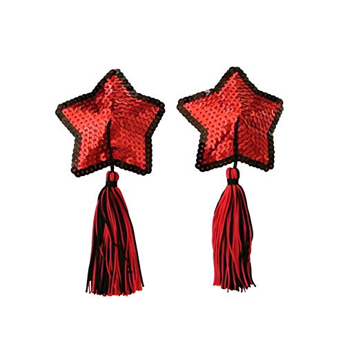 Reusable Adhesive Sequin Nipple Cover Silicone Star Shaped Breast Pads Pasties Bra with Tassel