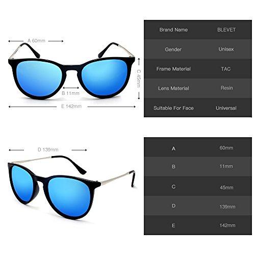 BE001 Homme BLEVET Rétro Blue UV400 Femme 100 Soleil de Polarisé Protection Lunettes FFrvn1xS