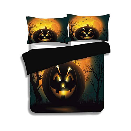 Black Duvet Cover Set Queen Size,Halloween,Fierce Character Evil Face Ominous Aggressive Pumpkin Full Moon Bats Decorative,Orange Dark Brown Black,Decorative 3 Pcs Bedding Set by 2 Pillow Shams ()