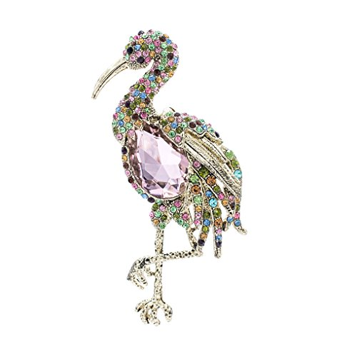 Sepbridals Rhinestone Crystal Bird Flamingo Brooch Broach Pin Thanksgiving Jewelry Gift Fa5076  Multicolor