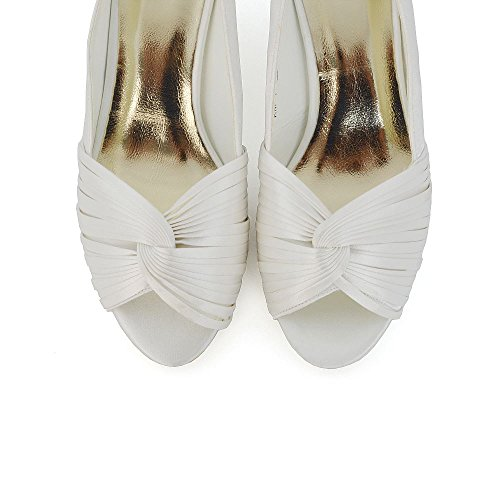 Toe Wedding Glam Shoes Satin Essex Da Gattino Donna Bridal Prom Tacco Womens Sera Peep Avorio Basso Raso Ow1w4qPdF