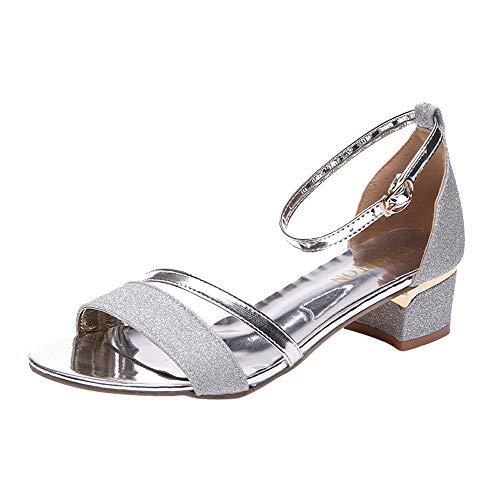 POLP Alto Mujer Zapatos Playa de Sandalias Sandalias Botas Verano Mujer Plateado Botas Planas Bohemia Zapatos Mujer tacón para Moda Comodos para Adulto 44Zwrq
