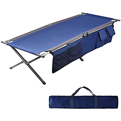 "PORTAL Folding Portable Camping Cot 83"" XL Pack-Away Tent Sleeping Cot Bed with Side Pockets, Carry Bag and Side Pockets Included"