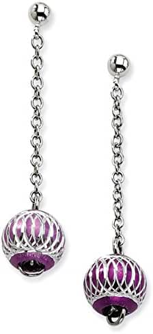 Stainless Steel Purple Diamond Cut Beads Post Dangle Earrings