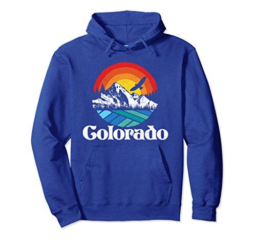 Unisex Retro Colorado Mountains Distressed Graphic Hoodie Medium Royal Blue