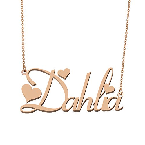 Aoloshow Customized Custom Name Necklace Personalized - Custom Made Dahlia Necklace Initial Monogrammed Gift for Womens Girls