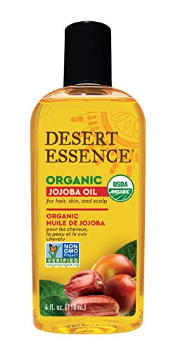 Desert Essence Organic Jojoba Oil - 4 Fl Oz - Moisturizer for Face, Skin, Hair - Cleanses Clogged Pores - May Prevent Scalp Flakiness - Fights Skin Infections - USDA - Suitable for Sensitive Skin ()