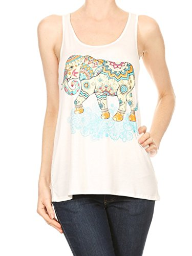 Bear Dance Lucky Elephant Tank Racerback Cami Tee Black (Medium)