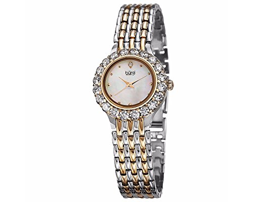 Watch Womans Mother Pearl Of (Burgi Women's BUR107 Crystal Accented Swiss Quartz Watch with White Mother of Pearl Dial and Metal Bracelet (Silver/Yellow Gold))