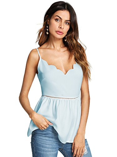 Romwe Women's Scallop Hollow Spaghetti Strap V Neck Tank Camis Vest Blouse Top Blue Small