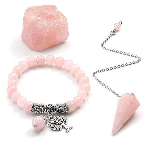 (CrystalTears Healing Stones Crystals Kit-Rose Quartz Tree of Life Pendant Beaded Bracelet,Dowsing Pendulum,Rough Raw Stone for Reiki, Balancing,Meditation)