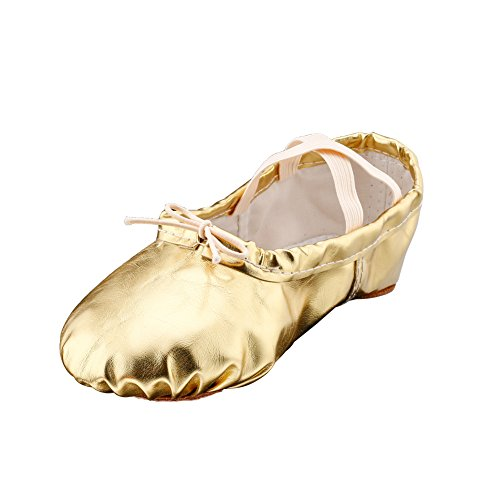 [Girl's Pu Ballet Dancing Shoes with Split Soft Sole,Gold,Toddler 8.5M US] (Ballerina Costumes For Toddler)