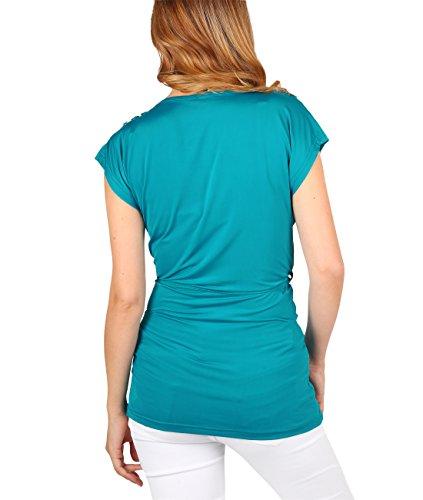 KRISP Camiseta Mujer Manga Corta Cruzada Top Larga Verano Blusa Elegante Turquesa