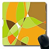 Ahawoso Mousepad Oblong 7.9x9.8 Inches Modern Brown Retro Swirl Loopy Orange Clip Pattern Green 50S Office Computer Laptop Notebook Mouse Pad,Non-Slip Rubber