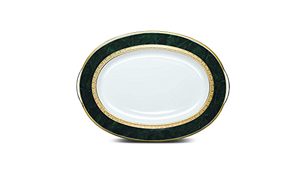 Amazon Com Noritake Fitzgerald Platter Oval 14 In Green White Platters