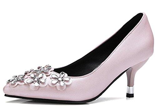 YCMDM Donne con tacco alto a forma di fiore piccole Codice grande Scarpe basse della bocca scarpe da appuntamento Scarpe di Charme Scarpe da Corte , pink , 37