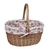 Large Double Steamed Garden Rose Lined Wicker Shopping Basket