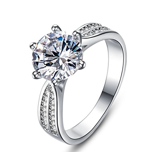 Tenfit Jewelry Engagement Ring for Women Wedding Band 4ct Simulated Diamond Rings