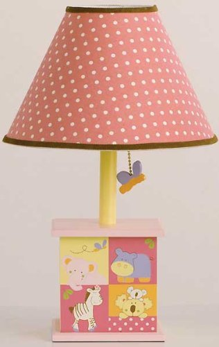 CoCaLo Tropical Punch Pink and Yellow Girls Lamp with White Polka Dots Shade by Cocalo by Cocalo