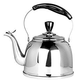 Stainless Steel Whistling Tea Kettle Stove Top Teapot Pot with Bakelite Handle, Mirror Finish, 2.6 Quart, Silver Tone