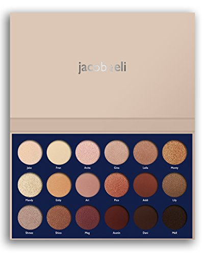 18 Super Pigmented - Top Influencer Professional Eyeshadow Palette all finishes, 5 Matte + 9 Shimmer + 4 Duochrome - Buttery Soft, Creamy Texture, Blendable, Long Lasting Stay (Bare) by Jacob & Eli