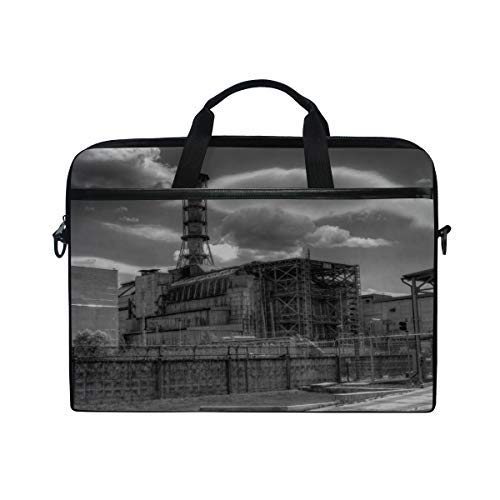 Rh Studio Laptop Bag City Street Chernobyl Explosion Nuclear Power Plant Laptop Shoulder Messenger Bag Case Sleeve for 14 Inch to 15.6 Inch with Adjustable Notebook Shoulder Strap (Nuclear Laptop Bag)