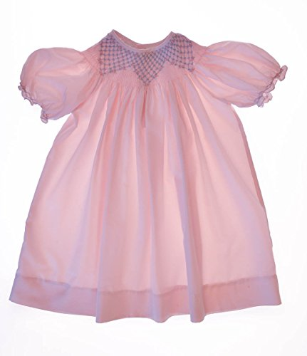 Infant Bishop Dresses (Carriage Boutique Girls Hand Smocked Pink Bishop Dress Special Occasion, 12M)