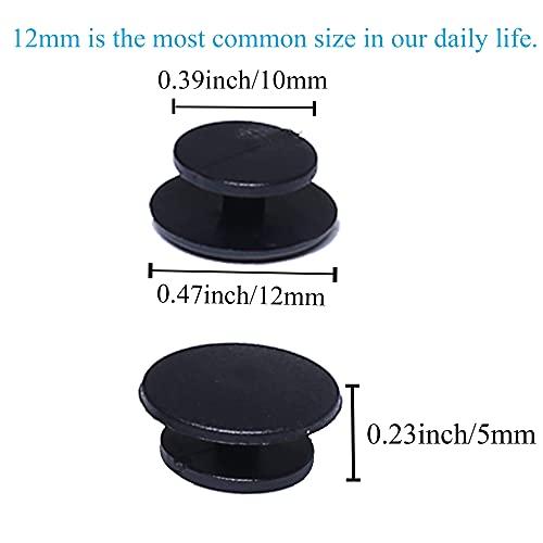 J.CARP 320PCS Black Buckle Plastic Button Accessories, Suitable for Shoes Charm, Wristband Jewelry, DIY Ornaments(12mm)