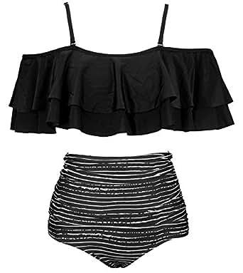 COCOSHIP Black Striped & White Balancing Act Two Piece Flounce Falbala Bikini Set Off Shoulder Ruffled Swimsuit Cruise Swimwear S
