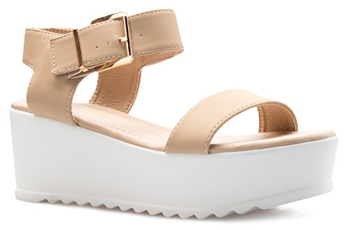 Toe Peep Nude Open Buckle OLIVIA Fashion K Ankle Sandal Women's Chunky Platform Strap Shoe qaRaY0