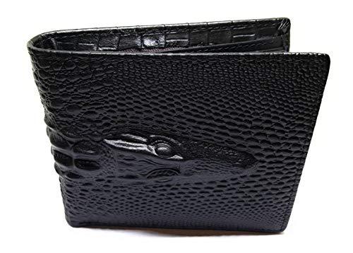 (Genuine Cowhide Leather Alligator Crocodile Embossed Bifold Wallet Fashion (black))