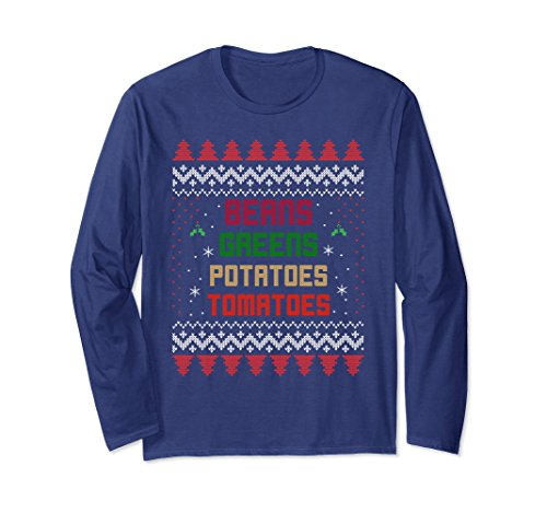 Unisex Beans, Greens, Potatoes, Tomatoes! Thanksgiving Long Sleeve Large Navy