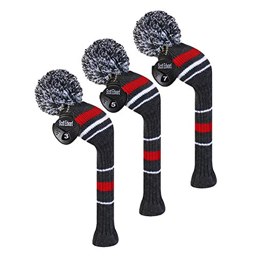 - Scott Edward Golf Fairway Woods Club Head Covers, Warning Stripes, Acrylic Yarn Double-Layers Knitted, 3 Pieces Packed, with Rotatable Number Tags, 3 Colors Optiona (Gray)