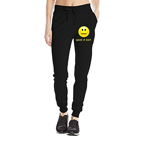 Losport Women's Have A Day 4 Cotton Joggers Pants Slim Fit Bottoms Fleece Pant With Pockets L Black