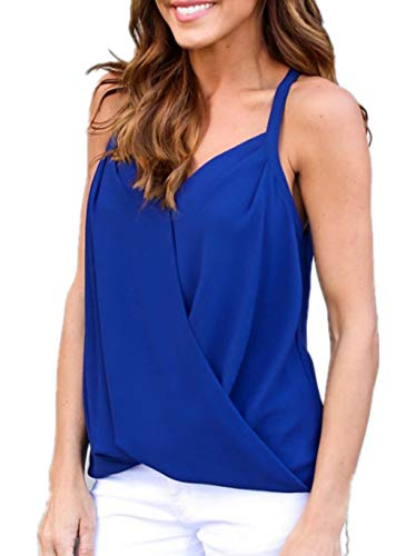 Womens Lace V Neck Tank Tops Paneled Spaghetti Solid Sexy Camis Shirts Blouse (L, 2-Royal Blue)