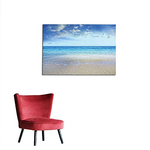 kungfu Decoration Painting Post Ocean,Wavy Crystal Sea and Sky with Clouds at The Sandy Beach Be Grateful to Nature Theme,Cream Blue Space Poster W23.6 x L19.7 ()