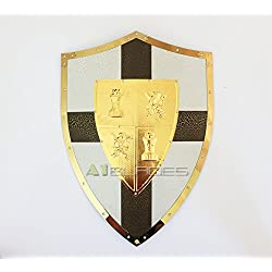 "Swordmaster - 25"" MEDIEVAL KNIGHT SHIELD Brass and Steel All Metal Cross Brand New"