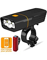 VICTGOAL USB Rechargeable Bike Light Front and Back Super Bright Powerful Bicycle Headlight Rear Lights Set 2400/5200 mAh Portable Charger Runtime 10+ Hours Cycling Light Flashlight