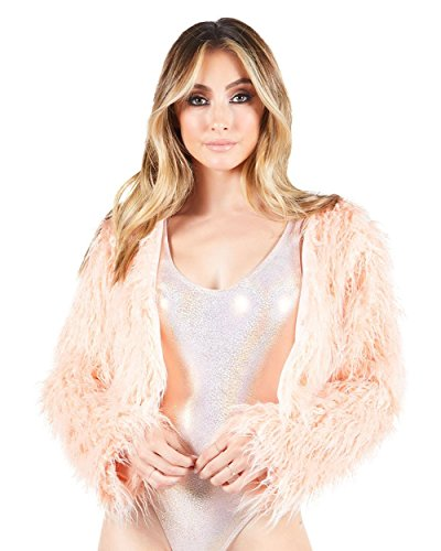 iHeartRaves Pink Fabulous Faux Fur Cropped Long Sleeve Jacket (Small)