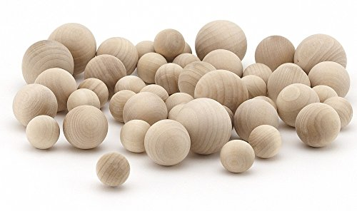 Accents Totally Furniture - Hygloss Products Wood Craft Balls - Unfinished Natural Wooden Ball – Assorted Sizes, 48 Pack