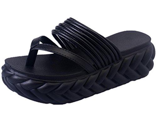 ANBOVER Womens Beach Wedges Platform Thong Slippers Flip Flops Sandals Black qrLcz8u