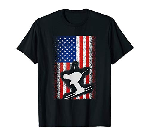 American Flag Ski Shirt Nordic USA Alpine Skiing Jersey Tee ()