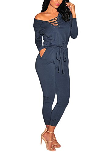 HOTAPEI Women's Lace Up Long Sleeve Drawstring Jumpsuit Romper Small Blue