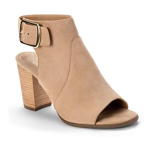 Vionic Women's Perk Blakely Open Toe Slingback Heel – Ladies Peep Toe Booties with Concealed Orthotic Support - Light Tan Leather 8M
