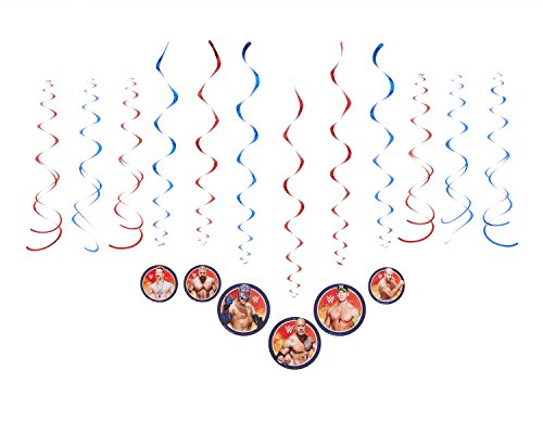 Kingston Party Supplies (Grand Slammin' WWE Birthday Party Foil Swirl Decorations Value Pack Decoration (12 Pack), Red/Blue, Assorted Sizes.)