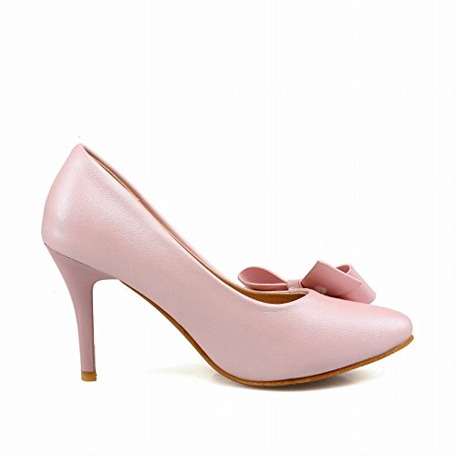 MissSaSa Damen süß high-heel Low-cut Pointed Toe Pumps mit Schleife Pink