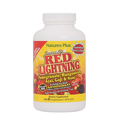 NaturesPlus Source of Life Red Lightning Antioxidant Capsules- 180 Vegetarian Capsules - Natural Energy Boost - with Whole Foods, Antioxidants & Red Superfoods - Gluten-Free - 45 Servings
