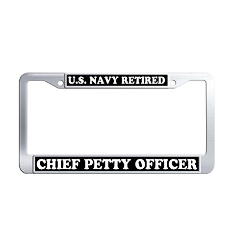 U.S. Navy Retired Metal License Plate Frame Holders, Chief Petty Officer Personalized Tinted Universal Car License Cover Holder Frames for US Standard with 2 Screws Caps
