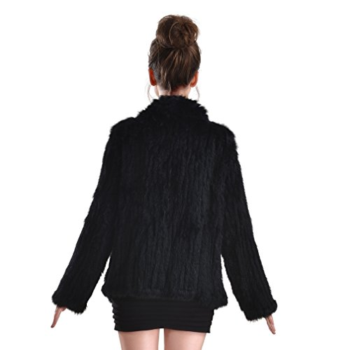 OLLEBOBO New Women's Genuine Rabbit Fur Coat Cardigan Fashion and Warm black by OLLEBOBO (Image #6)