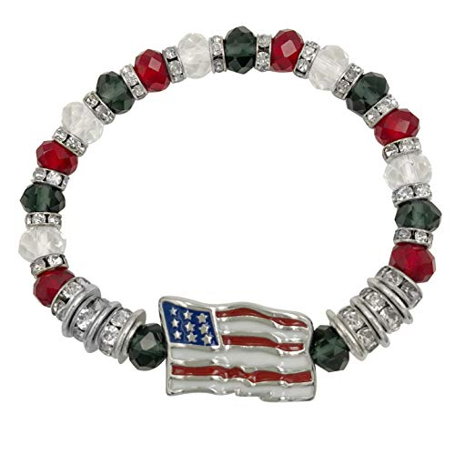 Glass Beaded and Rhinestone Silver Tone Theme Stretch Bracelet (Red White Blue American Flag)